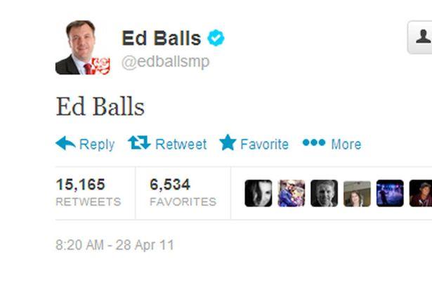 Ed Balls tweeting his name