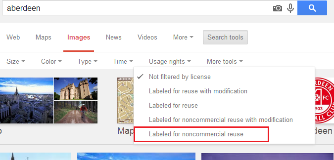 Google image search non commercial use